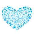 heart with marine life vector image