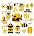 honey funny doodle set beekeeping apiculture vector image vector image