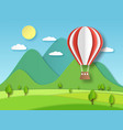 hot air balloon paper origami art red flying vector image