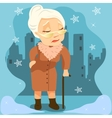 old woman with cane on city background vector image vector image