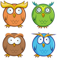 owl cartoon set vector image vector image