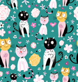 pattern of funny cats vector image vector image