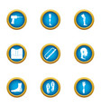 plastic foot icons set flat style vector image vector image