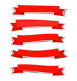 red ribbon banners sticker with shadow on white vector image vector image