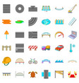 road icons set cartoon style vector image vector image