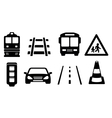 road icons set vector image vector image