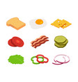 sandwich isometric constructor of food with vector image