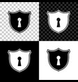 shield with keyhole icon isolated on black white vector image vector image