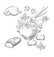 Sketch of cooking a dinner salad vector image vector image
