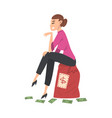 successful businesswoman sitting on big heavy bag vector image vector image