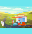 summer rural landscape scene with gas station vector image vector image