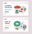 summer vacation landing page onboard screen vector image