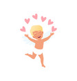 sweet blonde baby cupid character juggling with vector image vector image