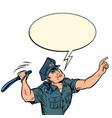 the policeman hits with a baton vector image vector image