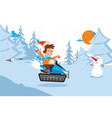 tracked result happy child descend on snowy vector image