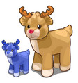 two deer toys of different colors blue and brown vector image vector image