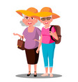 two old women friends in hats enjoing vacation vector image