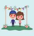 wedding invitation card with couple characters vector image