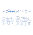 wind turbine solar energy panel fields renewable vector image