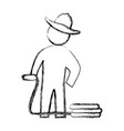 Worker gardener pictogram vector image