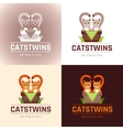 funny cute cats twins vector image
