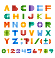 Geometric square colorful english alphabet vector image