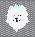 a cartoon portrait of a white dog with snow on his vector image vector image