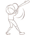 A plain sketch of a male baseball player vector image vector image