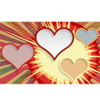Abstract explosion background with hearts vector image vector image