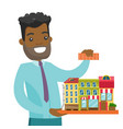 african real estate agent presenting city model vector image vector image
