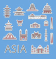 asian traveling labels set in linear style vector image