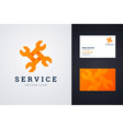auto repair service logo and business card vector image vector image