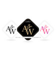 aw initial letter and graphic name aw monogram vector image vector image