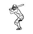 baseball girl player ready hit ball black vector image vector image