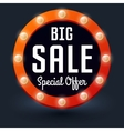 Big Sale with retro glowing lights for business vector image vector image
