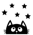 black cat looking up to star shape i love cats vector image