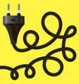 black plug with cable vector image vector image