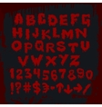 Bloody alphabet and other signs vector image vector image