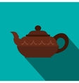 Chinese brown teapot icon flat style vector image vector image