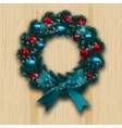 Christmas and New Year wreath Blue branch of fir vector image vector image