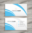 clean blue wave business card vector image vector image