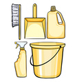 Cleaning equipments in yellow vector image