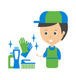 cleanup service worker and household chemistry vector image vector image