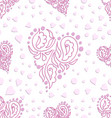 decorated hearts seamless pattern vector image