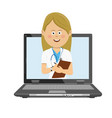 female doctor having consultation online on laptop vector image vector image