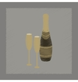 flat shading style icon Champagne bottle and vector image vector image