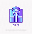 folded classic shirt with pockets thin line icon vector image