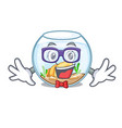 geek fishbowl in glass sphere on mascot vector image