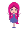 girly fairy without wings and magenta long wavy vector image vector image