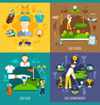 golf game flat design concept vector image vector image